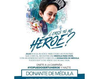 #Yopuedosertuhéroe, una campaña   que anima a donar médula para   Julio, un niño con leucemia