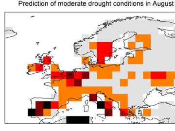 Mapa de predicción de condiciones de sequía moderada en agosto