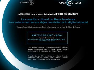 Foro CreaCultura: La creación cultural no tiene fronteras: tres autores narran sus viajes con éxito de lo digital al papel
