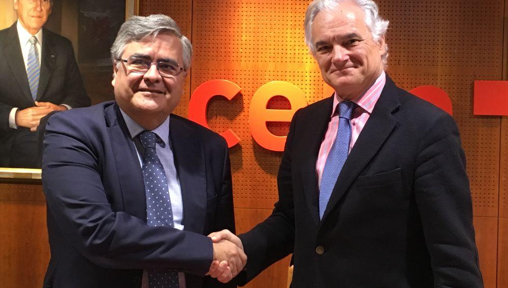 Álvaro Giménez Cañete, director general de la Fundación General CSIC; y Miguel Garrido, secretario general de CEIM.
