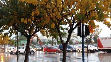 Tráfico intenso por la lluvia
