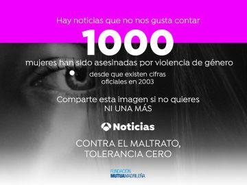 1000 mujeres han sido asesinadas por violencia de género desde que existen datos oficiales