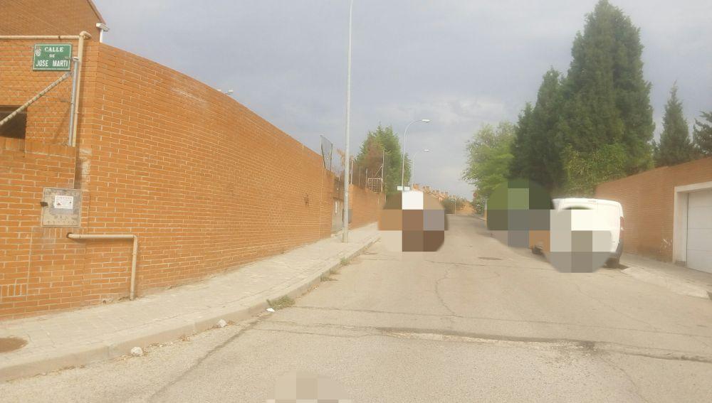 Calzada en mal estado en Coslada, Madrid