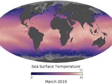 Mapa de la temperatura de la superficie del mar