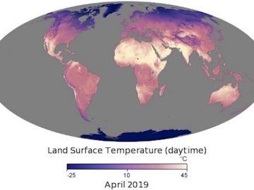 Mapa de la temperatura de la superficie terrestre