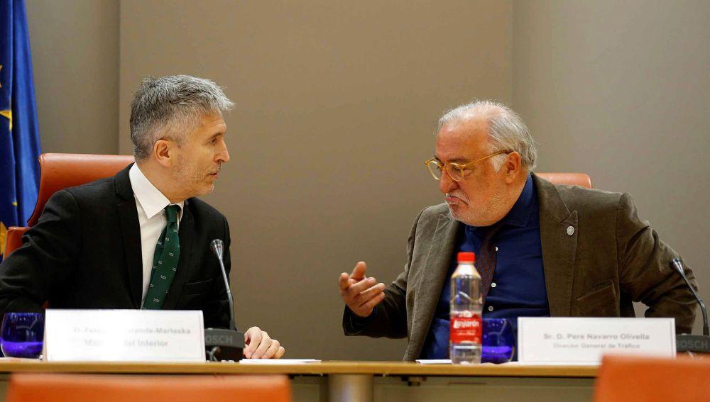 El ministro de Interior, Fernando Grande-Marlaska y el Director General de Tráfico, Pere Navarro