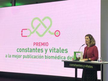Guillermina López-Bendito recoge el premio 'Mejor publicación biomédica del año' de la V edición de los Premios Constantes y Vitales