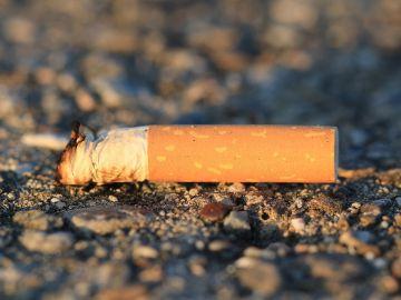 Cigarillo tirado en la naturaleza