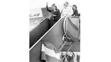 Eva Perón llega a Madrid junto a su marido