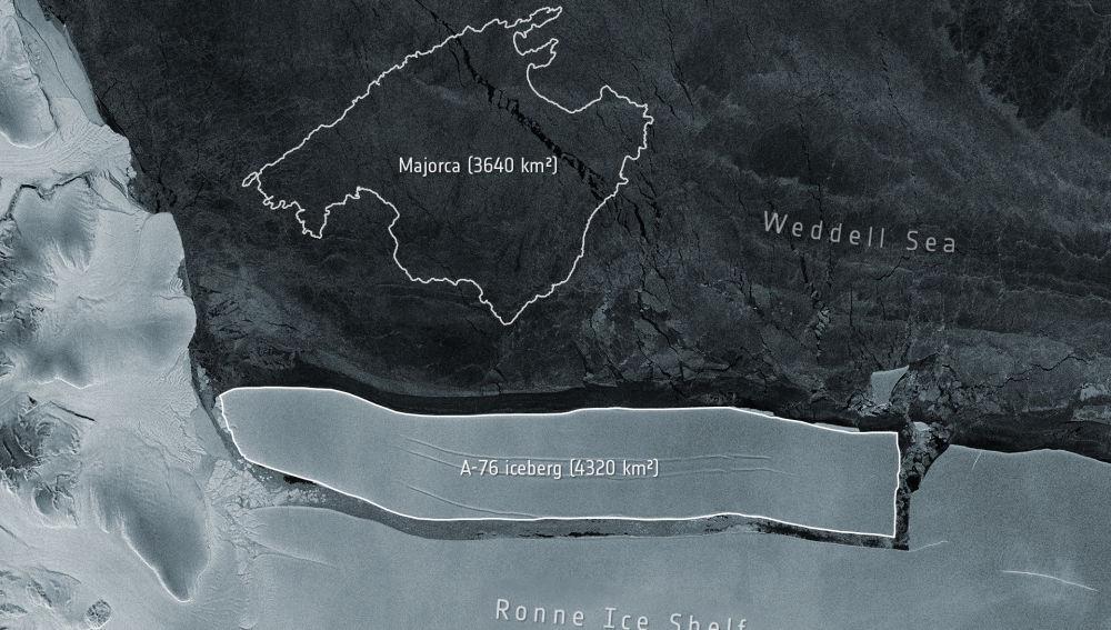 Iceberg A-76 desprendido en la Antártida
