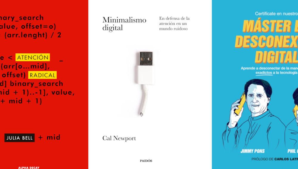 Portadas de los tres libros recomendados