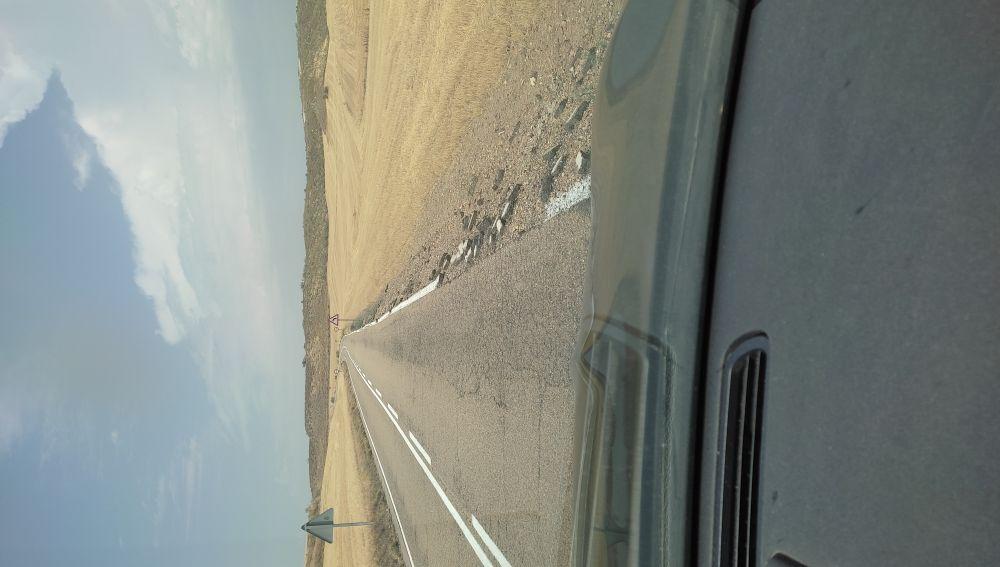 Carretera deteriorada en Toledo
