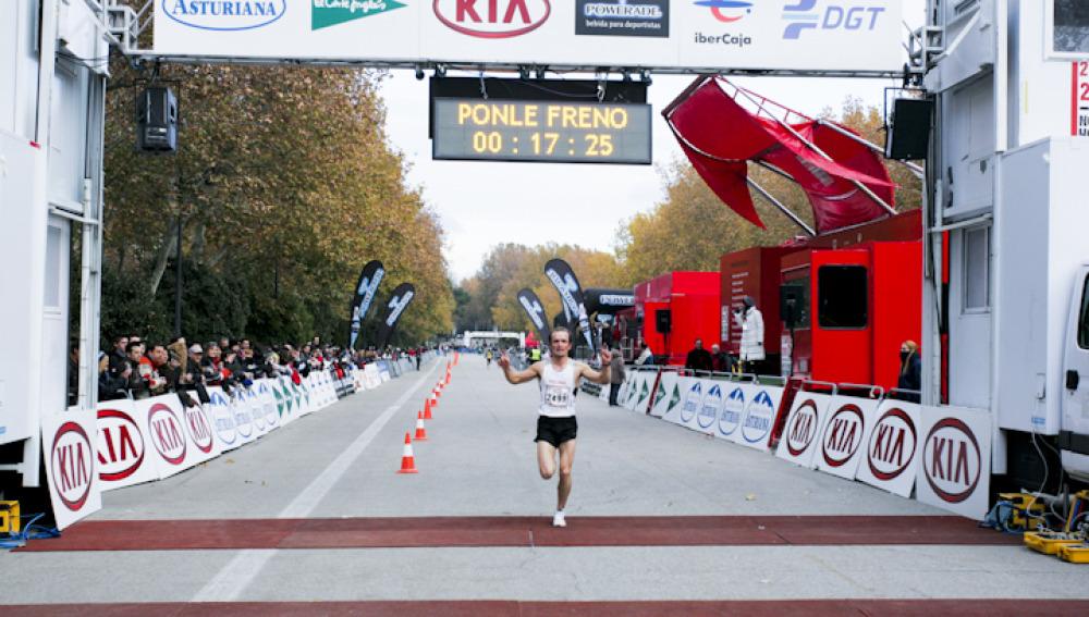 Minuto 17,25  llegada del segundo clasificado en la modalidad de 5 km