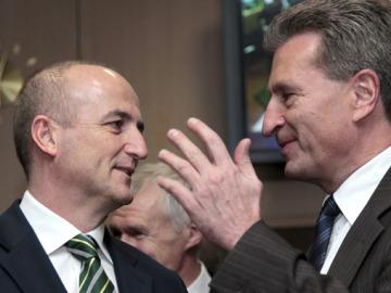 Sebastián y Oettinger en Bruselas