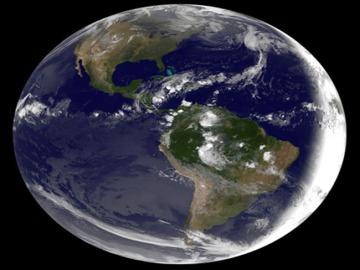 Imagen tomada por la NASA del planeta tierra desde la perspectiva de Sudamérica.