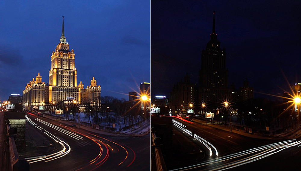 Moscú se apaga durante una hora