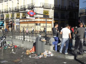 Basura en el centro de Madrid