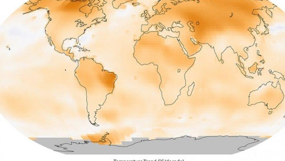 Mapa de la evolución de las temperaturas en el mundo