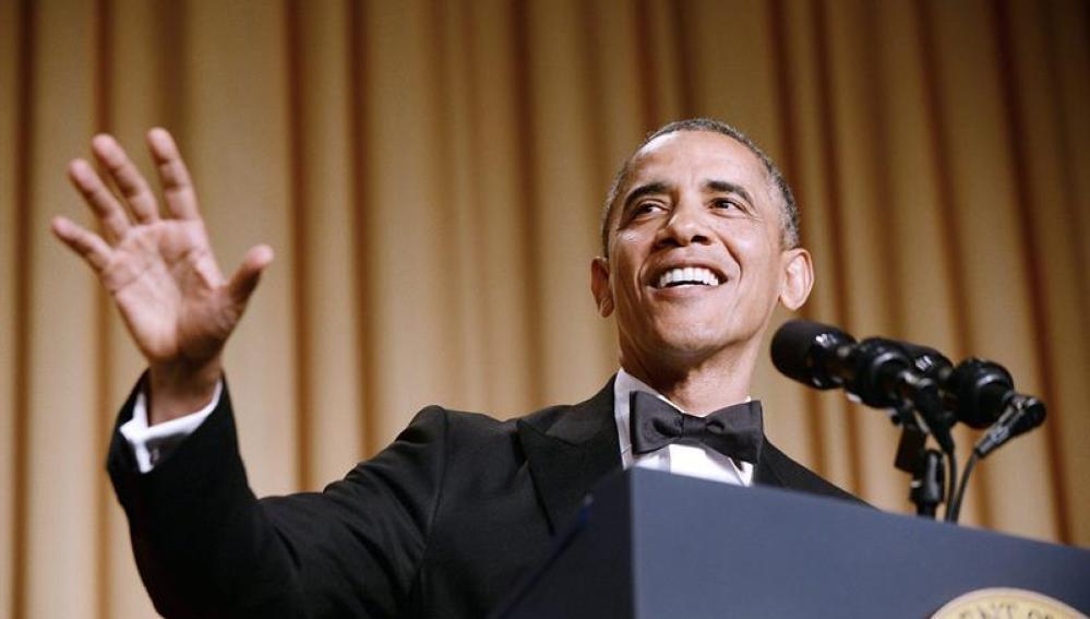Barack Obama, durante su discurso en la cena anual con los periodistas