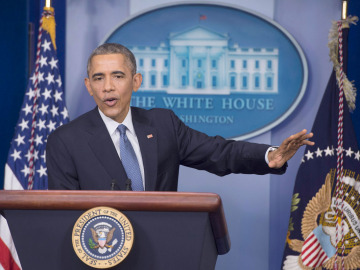 Barack Obama durante la rueda de prensa