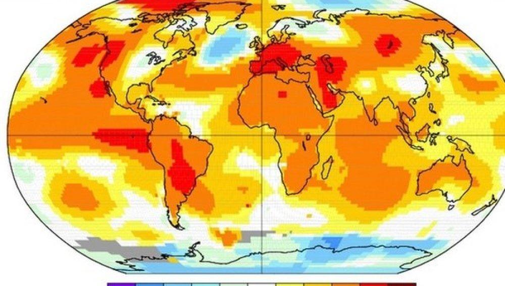 La NASA publica un mapamundi del trimestre más caluroso del año