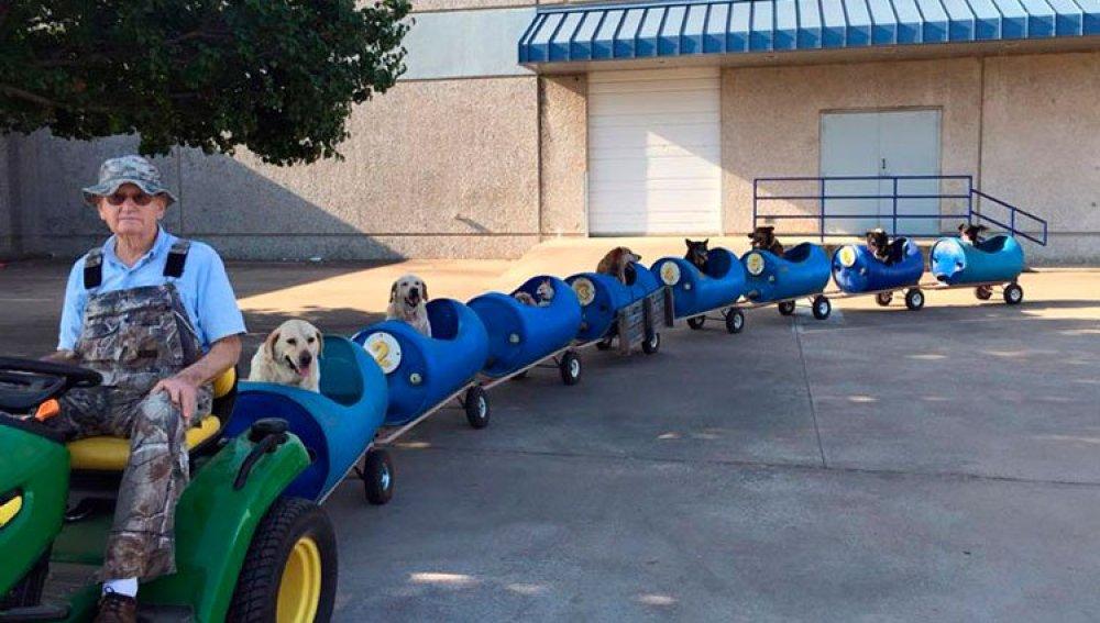 Un hombre de 80 años constuye un tren para pasear a perros callejeros