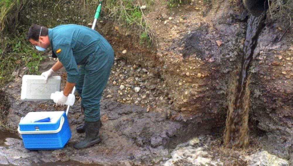 Un miembro del Seprona recoge muestras de un vertido