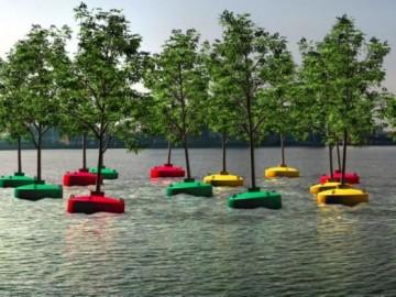 Plantan el primer 'bosque flotante' en el puerto de Rotterdam