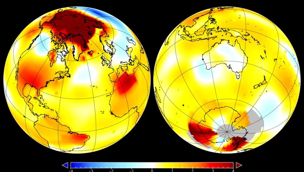 Mapa de Octubre 2016, muestra la anomalía en el Ártico