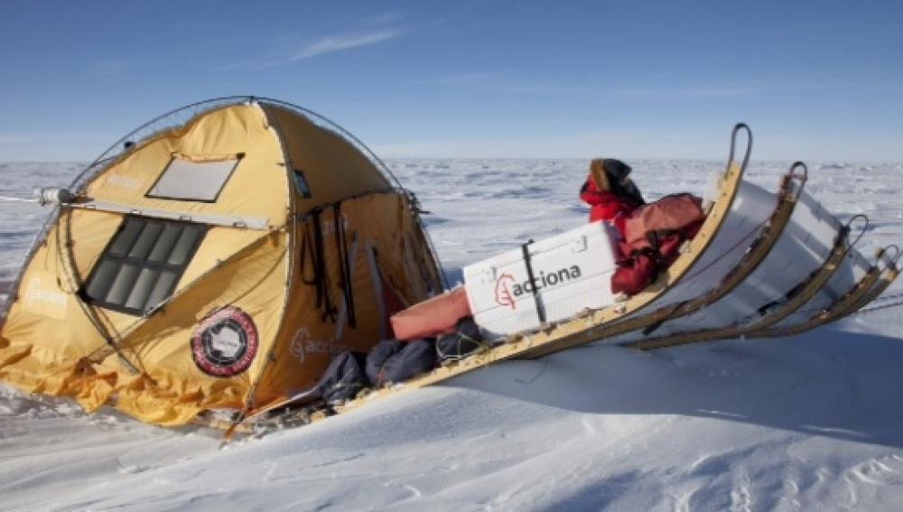 Trineo de viento utilizado en una expedición anterior