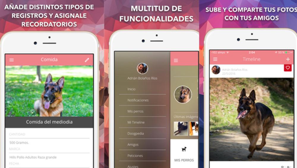 Interfaz de Midoog, la aplicación para el mejor amigo del hombre