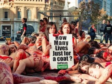 Decenas de personas se desnudan en Barcelona en protesta contra la industria peletera