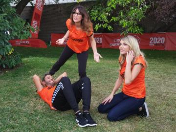 Ana Morgade, Anna Simón y Frank Blanco en la grabación del spot de la 9ª Carrera Ponle Freno