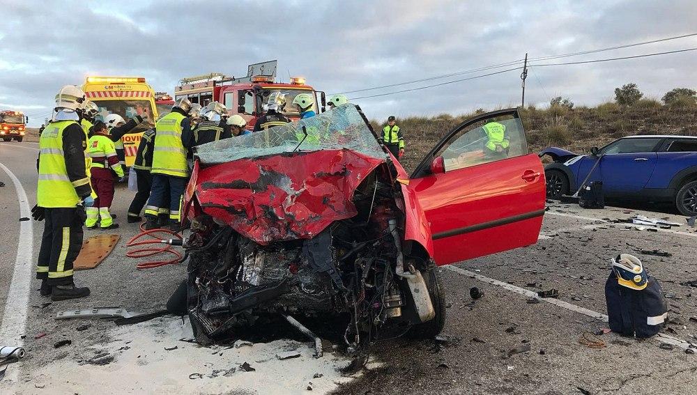 Imagen de un accidente de tráfico en el término municipal de Morata de Tajuña (Madrid)