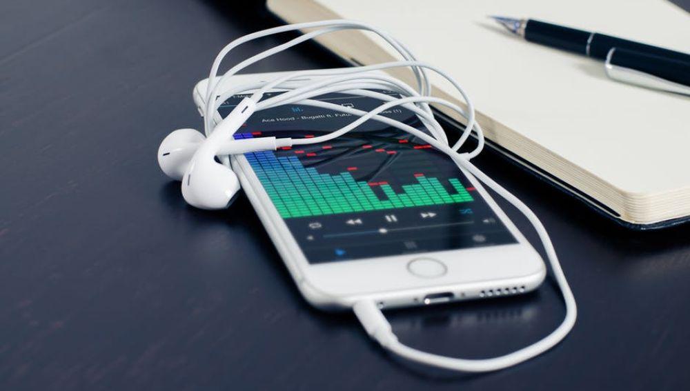Un móvil con reproductor de música