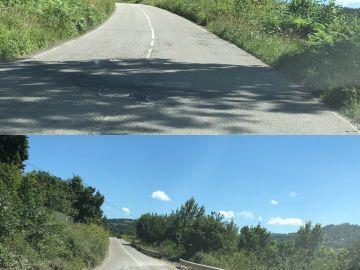 Carretera caída y con agujero