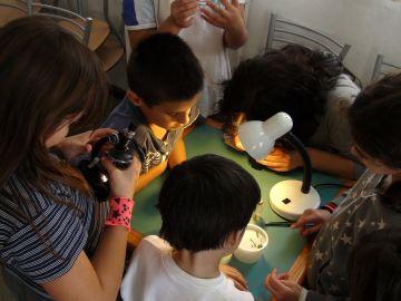 Un grupo de niños en una actividad científica