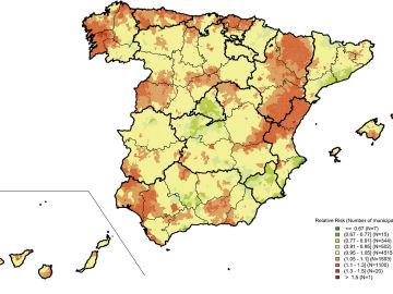 Mapa de la mortalidad por cancer de prostata en Espana