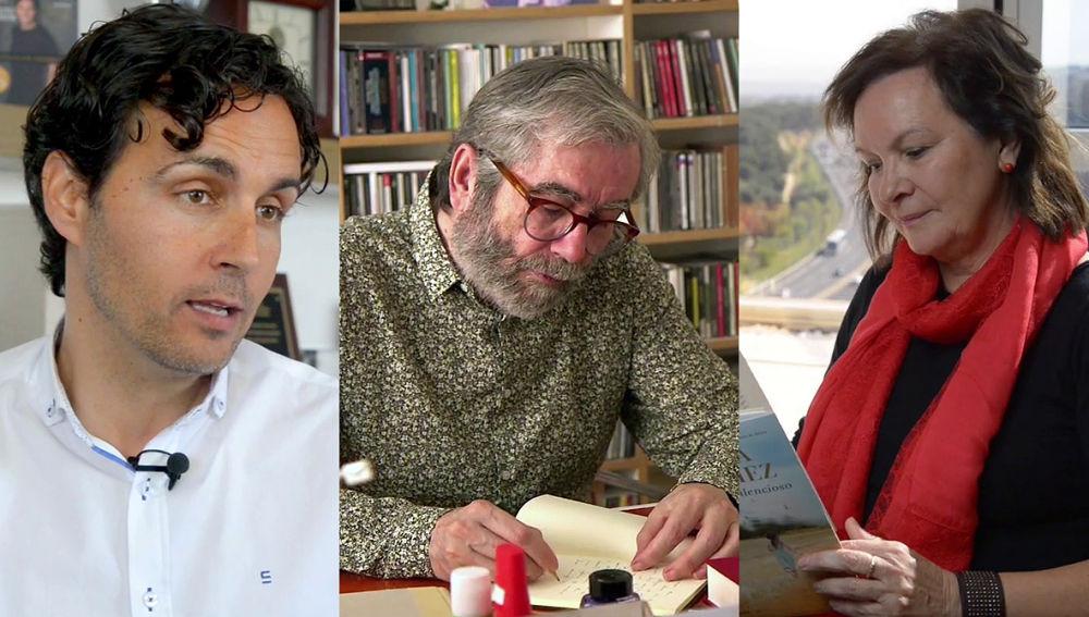 Anxo Pérez, Antonio Muñoz Molina, Clara Sánchez en Crea Lectura