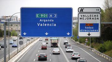 Estado del tráfico en la A3, carretera de Valencia a la altura de Santa Eugenia, en sentido salida de Madrid, este miércoles