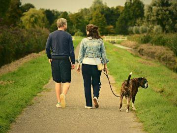 Pareja paseando en un entorno rural