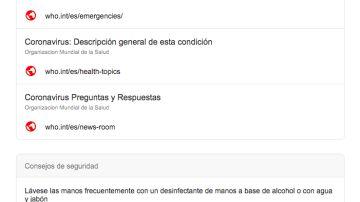 Información de Google sobre el coronavirus.