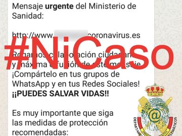 Imagen del mensaje difundido por la Guardia Civil.