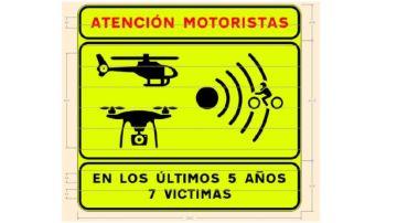 Señal tramos peligroso motoristas