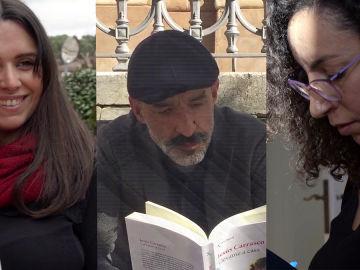 Alice Kellen, Jesús Carrasco y Najat El Hachmi en Crea Lectura
