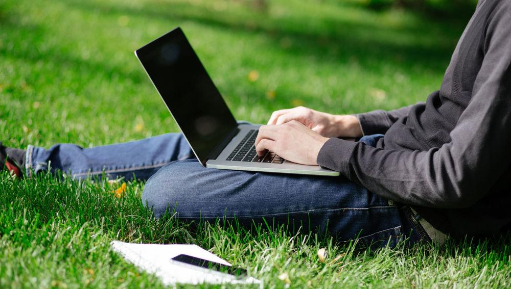 Una persona sentada en un prado navega por Internet con un portátil