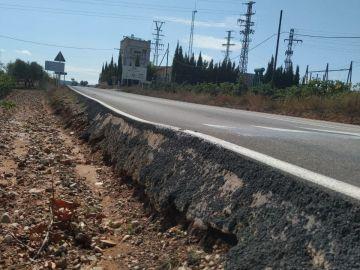 Carretera de Valencia con un bordillo muy peligroso