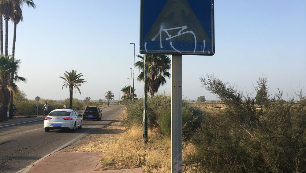 Señal pintada en carretera de Huelva