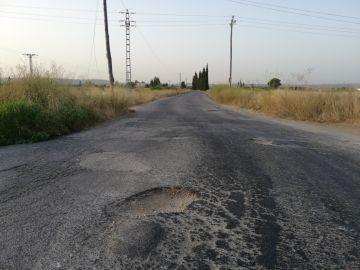 Carretera de Valencia en mal estado