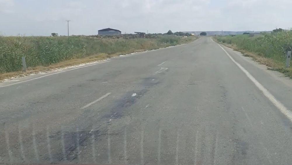 Carretera de Zaragoza en mal estado